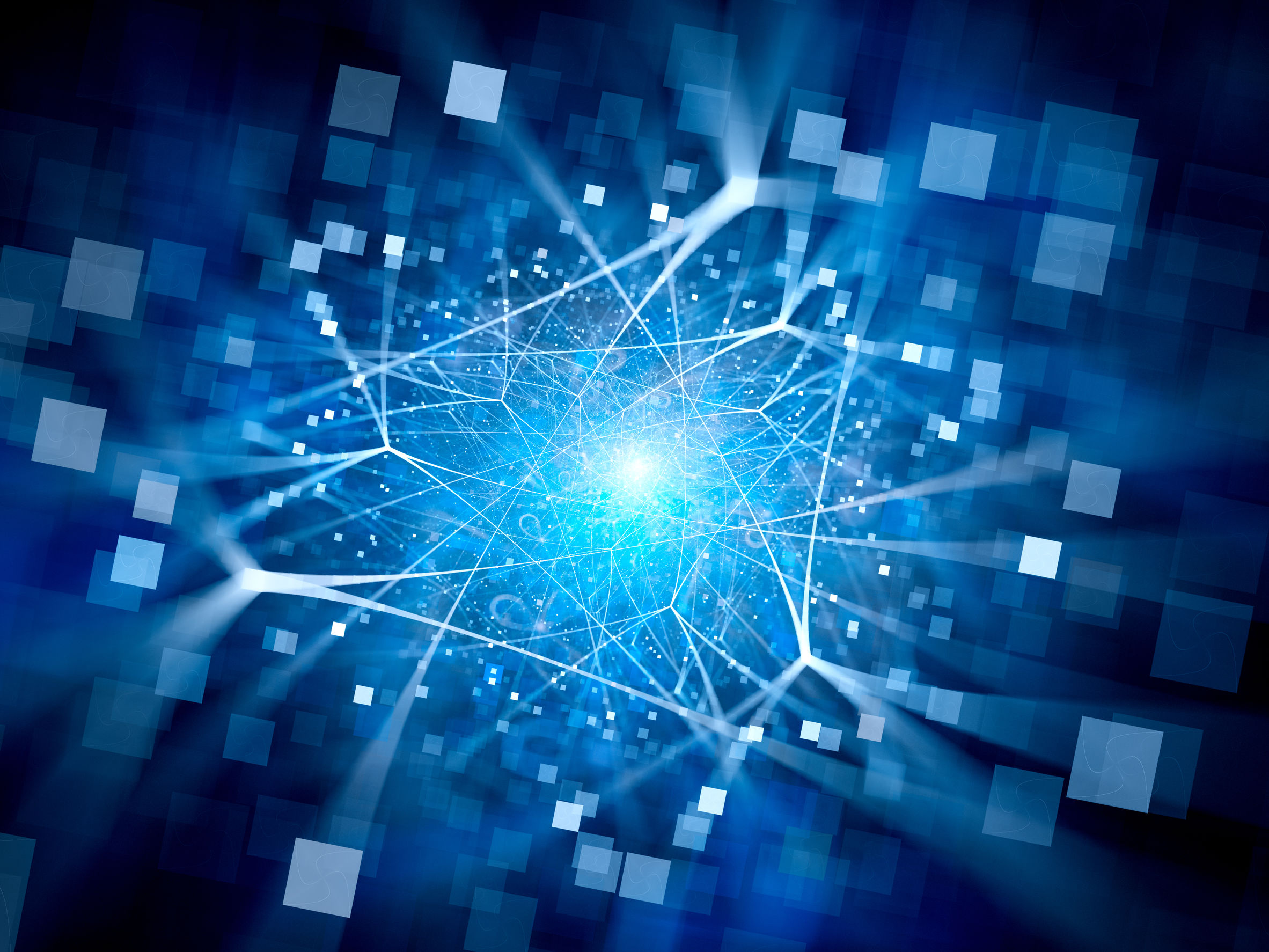 Blue Glowing Network Connections With Square Particles